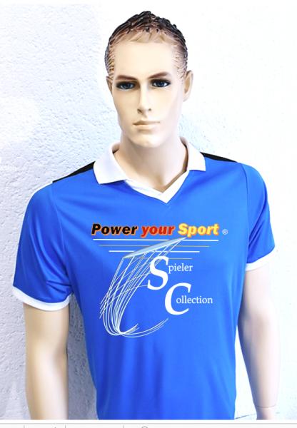 T-Shirt blau mit Power your Sport Logo.