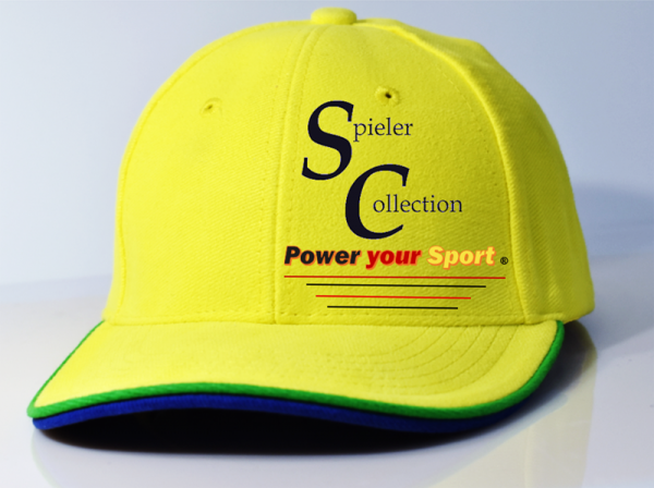 Kappe 6 Panel Cap in gelb mit Spieler Collection Logo.
