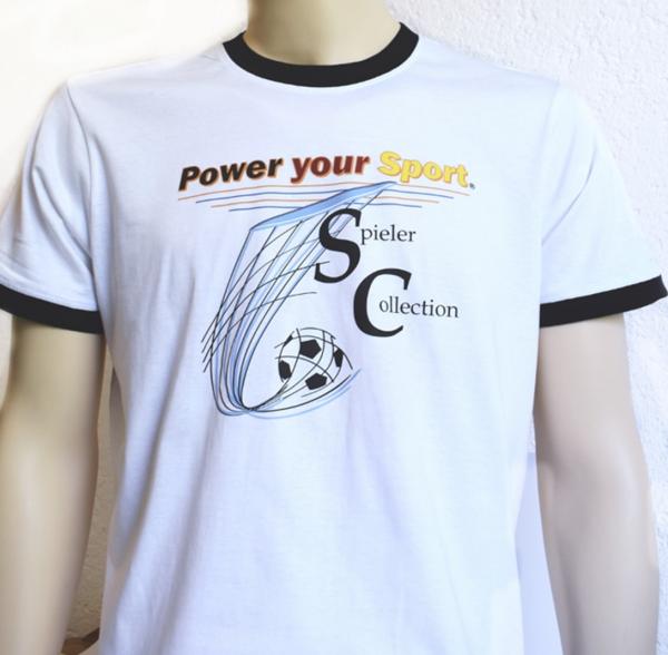 T-Shirt mit Spieler Collection, Power your Sport und Fußball.